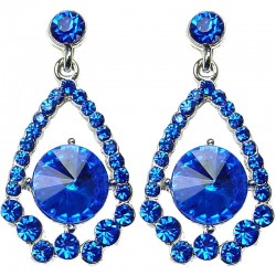 Bridal Costume Jewellery, Fashion Wedding Gift, Royal Blue Diamante Royal Dangle Teardrop Dress Earrings