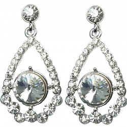 Bridal Costume Jewellery, Fashion Wedding Gift, Clear Diamante Royal Dangle Teardrop Dress Earrings