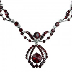 Bridal Costume Jewellery, Wedding Gift, Red Diamante Royal Teardrop Fashion Dress Necklace