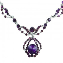 Bridal Costume Jewellery, Fashion Wedding Gift, Purple Diamante Royal Teardrop Dress Necklace