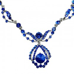 Bridal Costume Jewellery, Wedding Gift, Fashion Royal Blue Diamante Royal Teardrop Dress Necklace