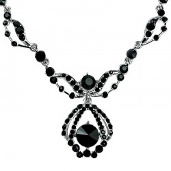 Bridal Costume Jewellery, Wedding Gift, Fashion Black Diamante Royal Teardrop Dress Necklace