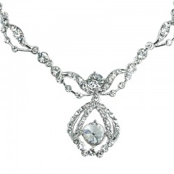 Bridal Costume Jewellery, Fashion Wedding Gift, Clear Diamante Royal Teardrop Dress Necklace
