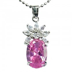 Women's Costume Jewellery, Girls Gift, Pink CZ Oval Flower Fashion Necklace Pendant