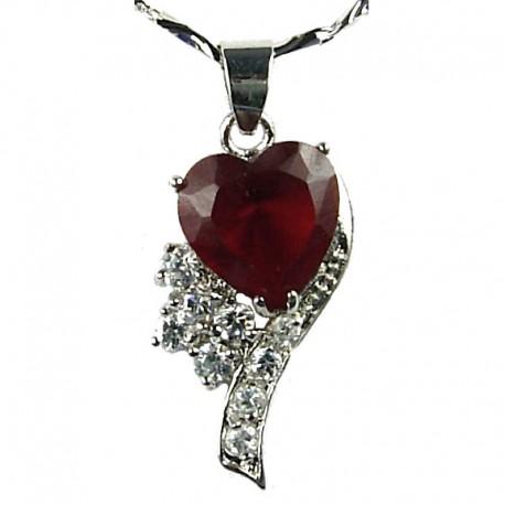 Women's Costume Jewellery, Girl;s Gift, Fashion Red Rhinestone Crystal Angel Heart Pendant