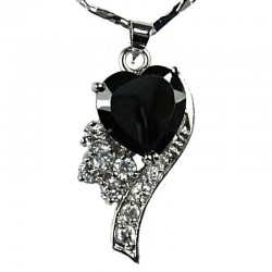 Fashion Women's Costume Jewellery, Girls Gift, Black CZ Angel Heart Pendant