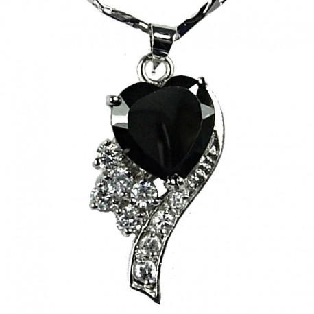 Fashion Women's Costume Jewellery, Girls Gift, Black CZ Angel Heart Pendant