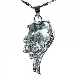 Fashion Women Costume Jewellery, Girls Gift, Clear CZ Angel Heart Pendant Necklace