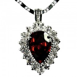 Fashion Women's Costume Jewellery, Girls Gift, Ruby Red CZ Sparkle Teardrop Pendant