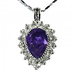 Women's Costume Jewellery, Fashion Girls Gift, Purple CZ Sparkle Teardrop Pendant