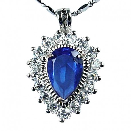 Royal Blue CZ Sparkle Teardrop Pendant Necklace
