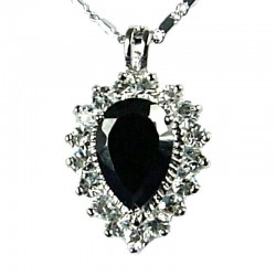 Women's Costume Jewellery, Girls Gift, Black CZ Sparkle Teardrop Pendant Fashion Neckalce
