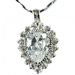 Fashion Women's Costume Necklace, Girls Gift, Clear CZ Sparkle Teardrop Pendant Necklace
