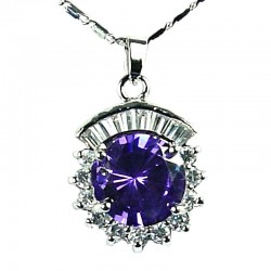 Fashion Women's Costume jewellery, Girls Gift,Amethyst CZ Sparkle Circle Necklace Pendant