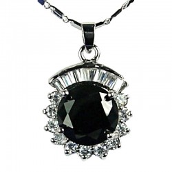 Women's Costume Jewellery, Girls Gift, Black CZ Sparkle Circle Pendant Fashion Necklace