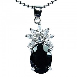 Women's Fashion Jewellery, Girls Gift, Black CZ Oval Flower Costume Necklace Pendant