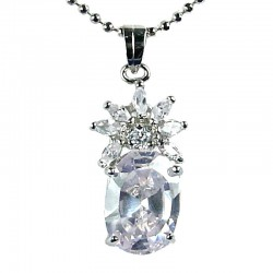 Women's Fashion Jewellery, Girls Gift, Clear CZ Oval Flower Costume Necklace Pendant