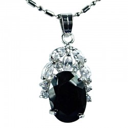 Women's Costume Jewellery, Girls Gift, Black CZ Elegant Oval Costume Neckalce Pendant