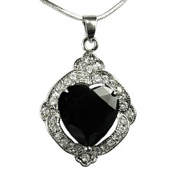 Women's Fashion Jewellery, Girlfriend Gift, Black CZ Love Heart Rhombus Costume Necklace Pendant
