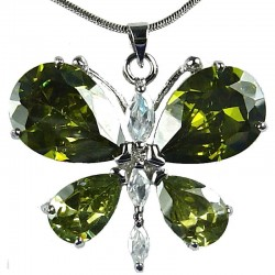 Girls Costume Jewellery, Women's necklaces, Gift for Her, Cute Green CZ Flutter Large Butterfly Pendant Necklace