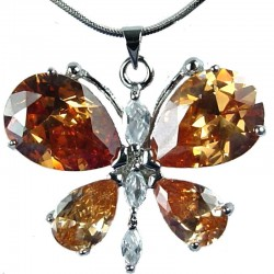 Cute Brown CZ Flutter Large Butterfly Pendant