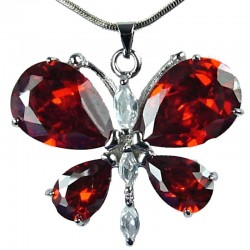 Girls Costume Jewellery, Women's Fashion Necklaces, Gift for Her, Cute Red CZ Flutter Large Butterfly Pendant Necklace