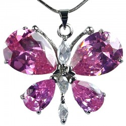 Girls Costume Jewellery, Fashion Women's Necklaces, Gift for Her, Cute Pink CZ Flutter Large Butterfly Necklace Pendant