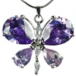 Girls Fashion Jewellery, Women's Costume Necklaces, Gift for Her, Cute Lilac CZ Flutter Large Butterfly Pendant Neckalce