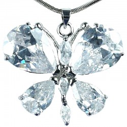 Girls Costume Jewellery, Fashion Women's Gift for Her, Cute Clear CZ Flutter Large Butterfly Pendant Necklace
