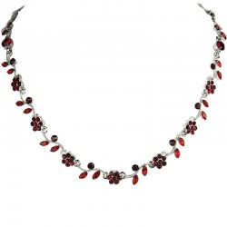Ruby Red Rhinestone Diamante Daisy Link Flower Necklace