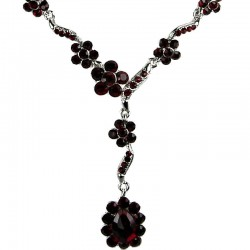 Bridal Costume Jewellery, Fashion Wedding Gift, Bib Dark Red Diamante Daisy Link Teardrop Necklace