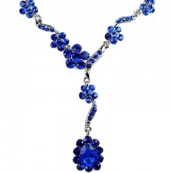 Bridal Costume Jewellery, Fashion Wedding Gift, Bib Royal Blue Diamante Daisy Link Teardrop Dress Necklace