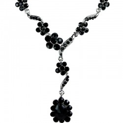 Bridal Costume Jewellery, Fashion Wedding Gift, Bib Black Diamante Daisy Link Teardrop Dress Necklace