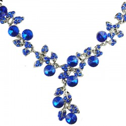 Bridal Costume Jewellery, Fashion Wedding Gift, Bib Royal Blue Diamante Ivy Dew Dressy Necklace