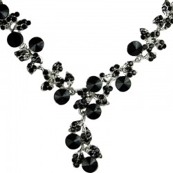Bridal Costume Jewellery, Fashion Wedding Gift, Bib Black Diamante Ivy Dew Dressy Necklace