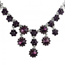 Bridal Costume Jewellery, Fashion Wedding Gift, Purple Diamante Cascade Flower Bib Statement Necklace