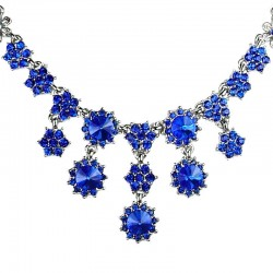 Bridal Costume Jewellery, Fashion Wedding Gift, Royal Blue Diamante Cascade Flower Bib Statement Necklace