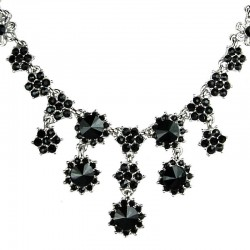 Bridal Costume Jewellery, Fashion Wedding Gift, Black Diamante Cascade Flower Bib Statement Necklace