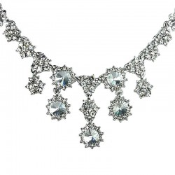 Bridal Costume Jewellery, Fashion Wedding Gift, Clear Diamante Cascade Flower Bib Statement Necklace