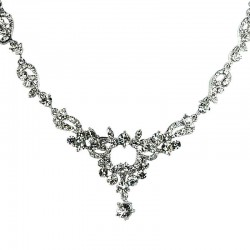 Bridal Costume Jewellery, Fashion Wedding Gift, Clear Diamante Flourish Floral Bib Dress Necklace