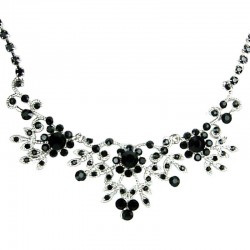 Bridal Costume Jewellery, Fashion Wedding Gift, Black Diamante Cascade Flower Bib Dress Necklace