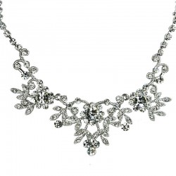 Bridal Costume Jewellery, Fashion Wedding Gift, Clear Diamante Cascade Flower Bib Dress Necklace