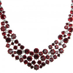 Bridal Costume Jewellery, Fashion Wedding Gift, Red Diamante Crescent Bib Bold Statement Necklace