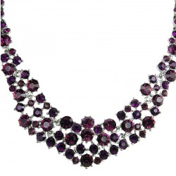 Bridal Costume Jewellery, Fashion Wedding Gift, Bib Purple Diamante Crescent Bib Bold Statement Necklace