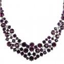 Purple Diamante Crescent Bib Bold Statement Necklace