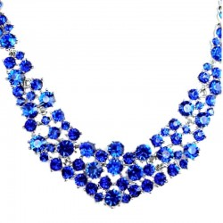 Royal Blue Diamante Crescent Bib Bold Statement Necklace