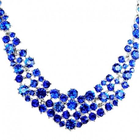 Bridal Costume Jewellery, Fashion Wedding Gift, Bib Royal Blue Crescent Diamond Statement Necklace