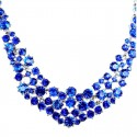 Royal Blue Diamante Crescent Bib Bold Statement Necklace