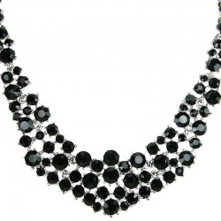 Black Diamante Crescent Bib Bold Statement Necklace