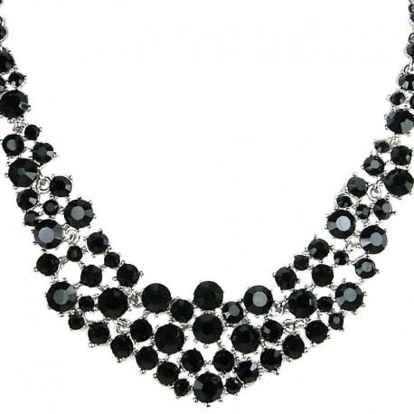 Bridal Costume Jewellery, Fashion Wedding Gift, Black Diamante Crescent Bib Bold Statement Necklace